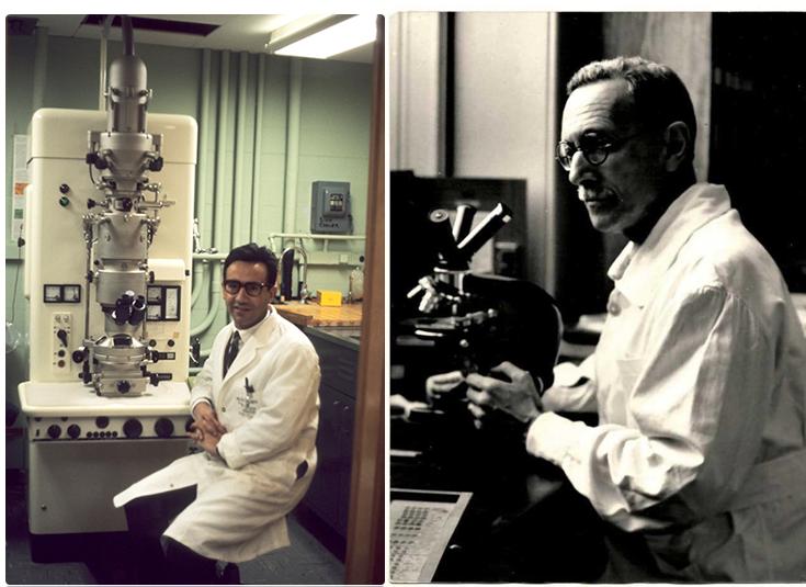 Celestino da Costa e David Ferreira junto a equipamento de laboratório