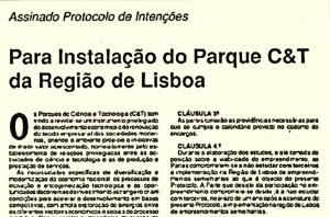 Detalhe do Protocolo de intenções para a instalação do Parque C&T da região de Lisboa