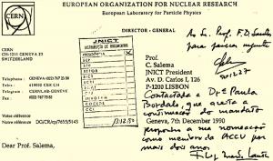detalhe de um ofício do CERN para a JNICT
