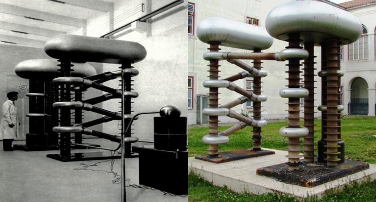 Acelerador de partículas do tipo Cockroft-Walton no Pavilhão de Física do LFEN em abril de 1961 (fonte: Laboratório de Física e Engenharia Nucleares, JEN, 1961) e atualmente no jardim do Museu de História Natural e da Ciência (fonte: http://www.museus.ulisboa.pt/en).
