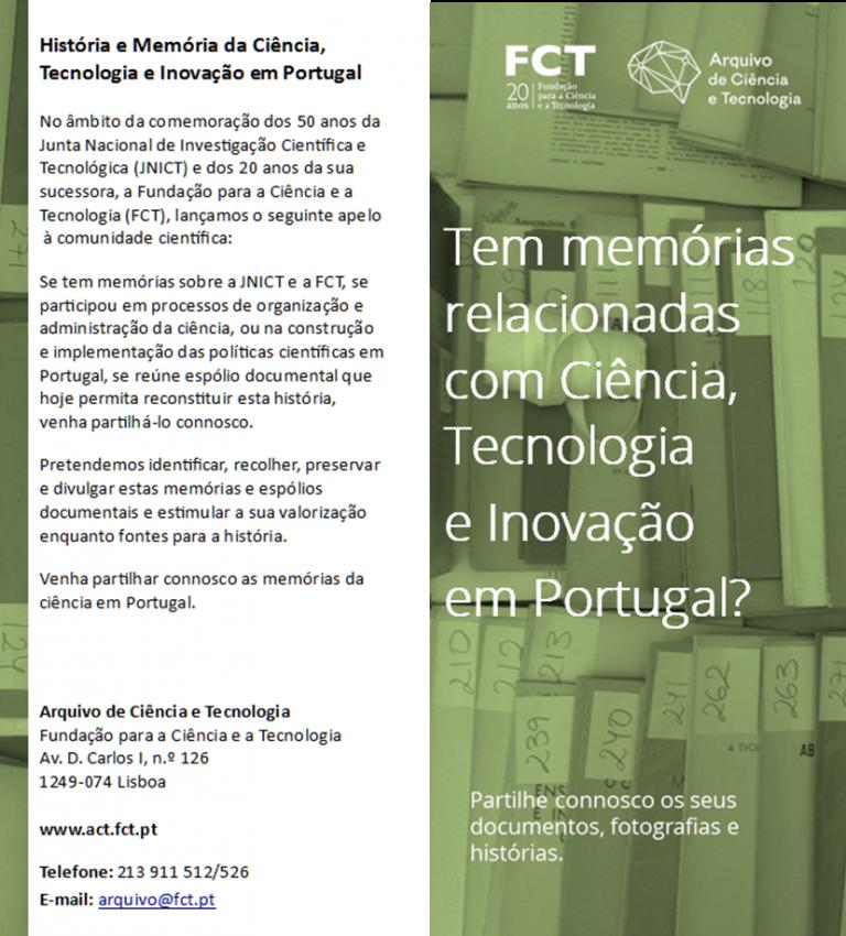 reprodução do folheto das memórias de ciência