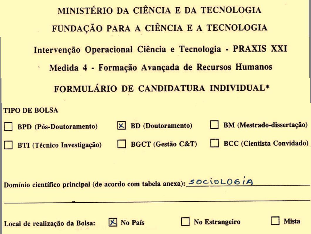 Detalhe do formulário de candidatura do Programa PRAXIS XXI