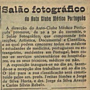 Recorte de imprensa sobre o salão fotográfico do Auto Clube Médico Português