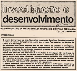 Detalhe da capa da primeira edição do Boletim Investigação e Desenvolvimento, de agosto de 1972